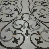 marqueterie de faux marbre en trompe l'oeil et filets or & argent